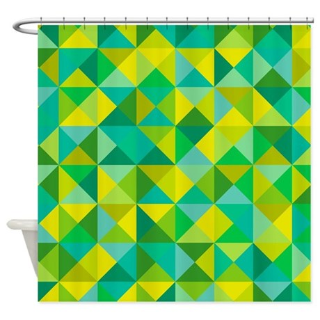 Green turquoise triangles shower curtain by yneami - Green and turquoise curtains ...