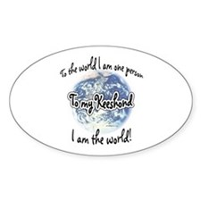 Keeshond World2 Oval Decal