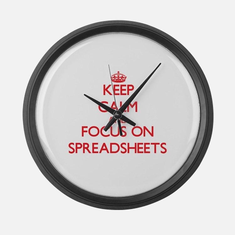 Cute I love spreadsheets Large Wall Clock