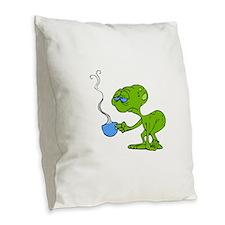 Tired Coffee Alien Burlap Throw Pillow