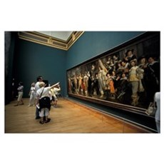 Visitors view paintings by Dutch mastersdam, Rijks Poster