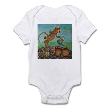 Garden Sock Monkey Infant Bodysuit