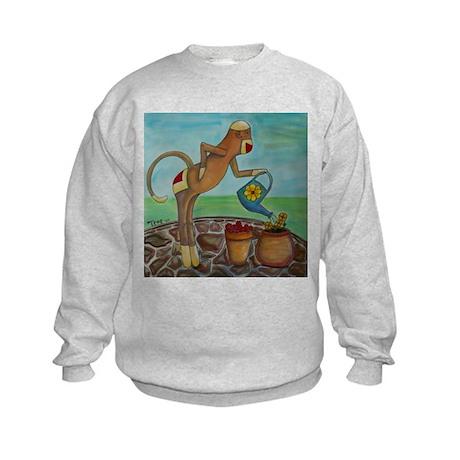 Garden Sock Monkey Kids Sweatshirt
