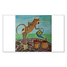 Garden Sock Monkey Rectangle Decal