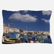 Fishing village of Marsaxlokkbor, fish Pillow Case