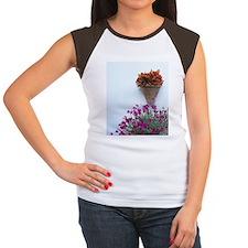 Flowers on white stucco Women's Cap Sleeve T-Shirt
