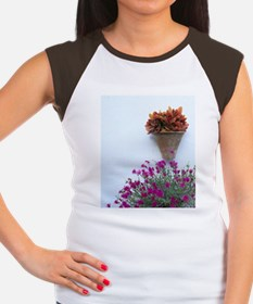 Flowers on white stucco Women's Cap Sleeve T-Shirt