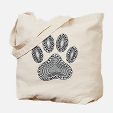 Tribal Dog Paw Print Tote Bag