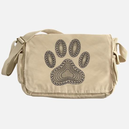 Tribal Dog Paw Print Messenger Bag