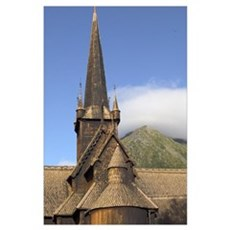 Lom Stave Church lom norway from 1200AD Poster