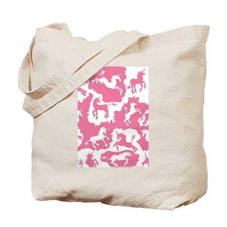 Rose Pink Unicorn Patches Tote Bag