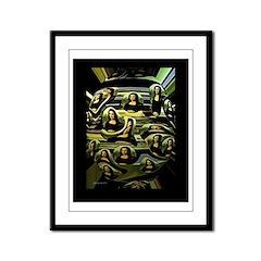 Coded Mona Lisa Framed Panel Print