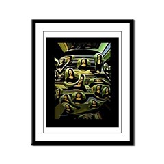 Coded Mona Lisa Framed Panel Print
