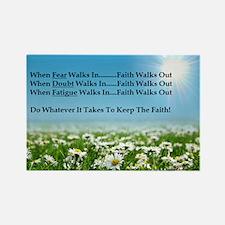 Faith Walks Out Rectangle Magnet