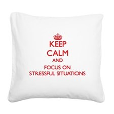 Cute Deal with stress Square Canvas Pillow