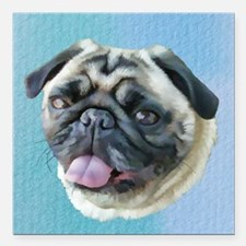 """Painted Pug Dog Square Car Magnet 3"""" x 3"""""""