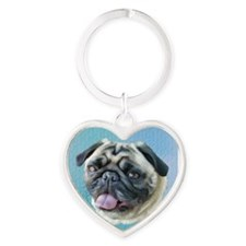 Painted Pug Dog Heart Keychain