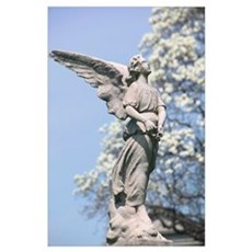 Winged Angel Monument & Spring Bloomsn: Greenwood Poster