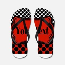 Red Black Polka Dot Personalizable Flip Flops
