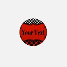 Red Black Polka Dot Personalizable Mini Button (10