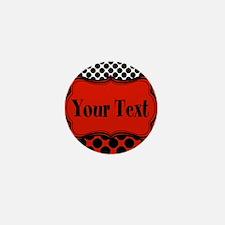 Red Black Polka Dot Personalizable Mini Button