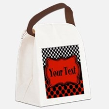 Red Black Polka Dot Personalizable Canvas Lunch Ba