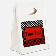 Red Black Polka Dot Personalizable Canvas Lunch To