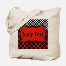 Red Black Polka Dot Personalizable Tote Bag