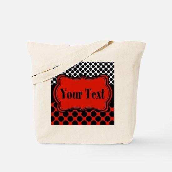 Red Black Polka Dot Personalizable Tote Bag