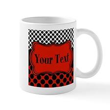 Red Black Polka Dot Personalizable Mugs