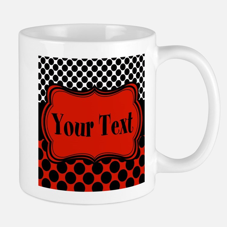 Red Black Polka Dot Personalizable Mugs