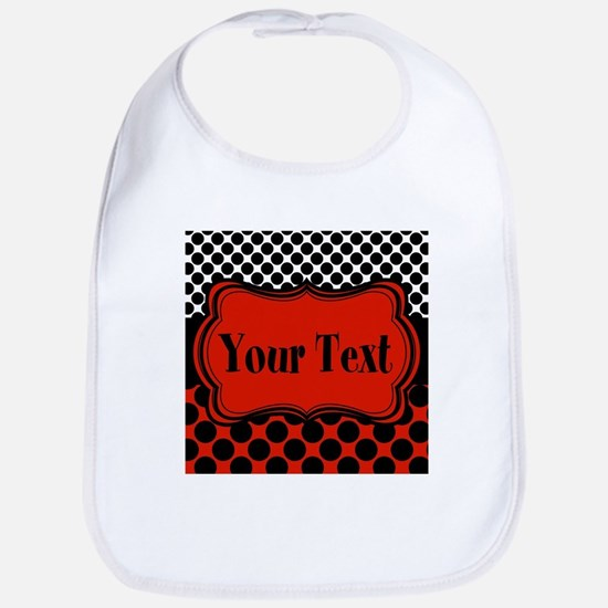 Red Black Polka Dot Personalizable Bib