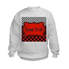 Red Black Polka Dot Personalizable Sweatshirt