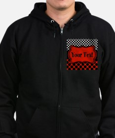 Red Black Polka Dot Personalizable Zip Hoodie