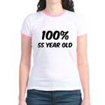 100 Percent 55 Year Old Jr. Ringer T-Shirt