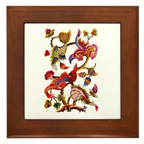 Jacobean Embroidery Framed Tile