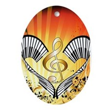 Music, beachparty with clef Ornament (Oval)
