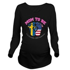 Swedish American Mom to Be Long Sleeve Maternity T
