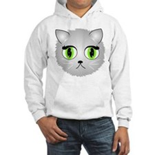 Gray Kitty Cat Face Hoodie