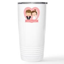 Cute Just Married Bride and Groom Travel Mug