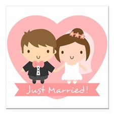 Cute Just Married Bride and Groom Square Car Magne
