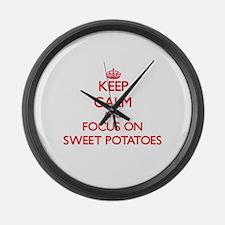 Cute Love sweet potatoes Large Wall Clock