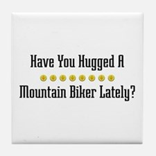 Hugged Mountain Biker Tile Coaster