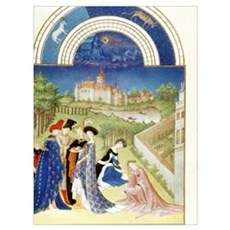 Tres Riches Heures by Limbourg Bros. April. Bethro Canvas Art