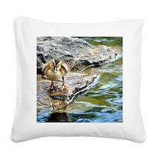 Inquisitive Duck Square Canvas Pillow