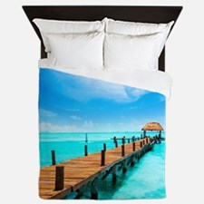Jetty on Isla Mujeres, Mexico, Cancun Queen Duvet