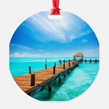 Jetty on Isla Mujeres, Mexico, Canc Ornament