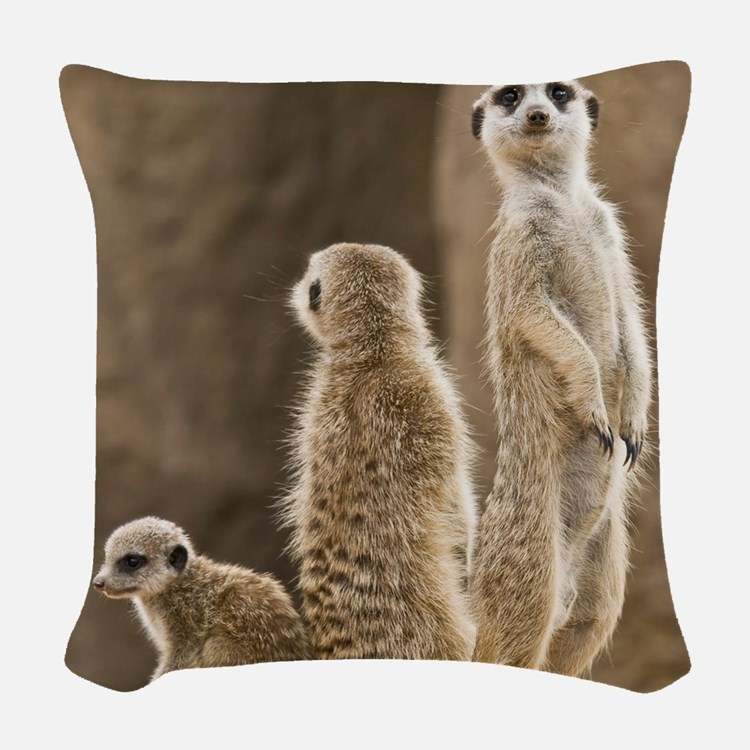 Meerkat Family Woven Throw Pillow