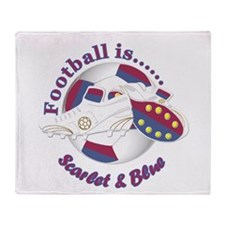 Football Colors Scarlet And Blue Throw Blanket