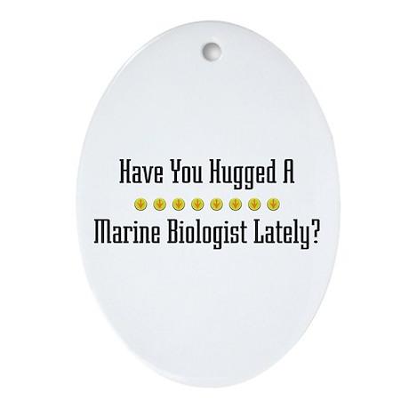 Hugged Marine Biologist Oval Ornament